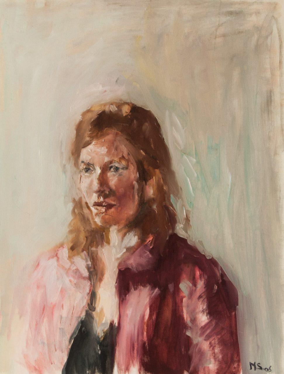 Vrouw met rode jas 2006 olieverf op papier 65 x 50