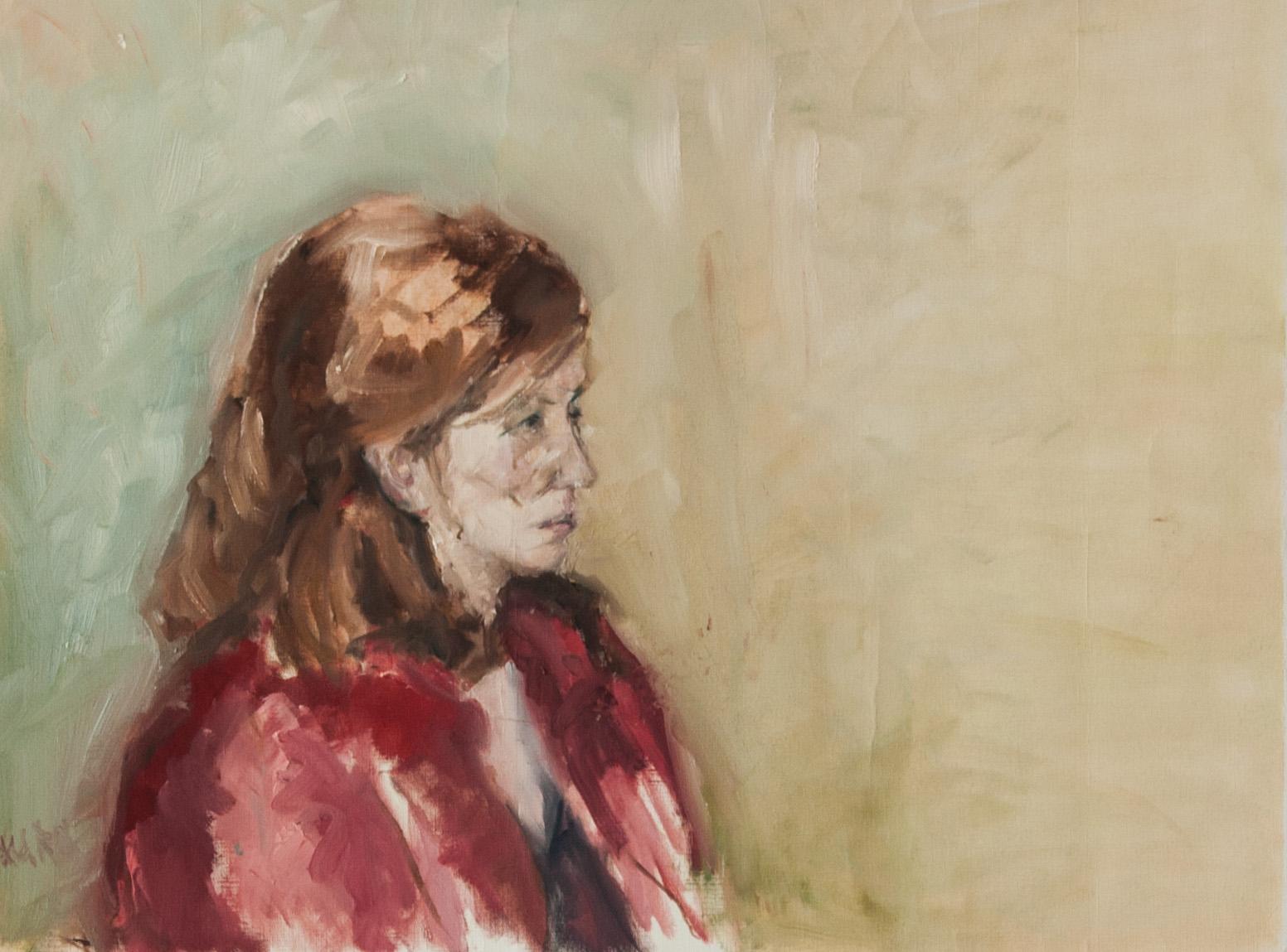 Vrouw met rode jas 2007 olieverf op papier 50 x 65