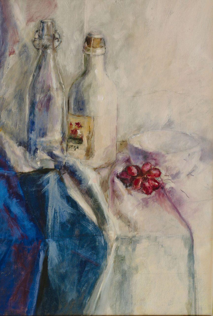 Schaaltje met rode druiven 2012 olieverf op linnen 65 x 45