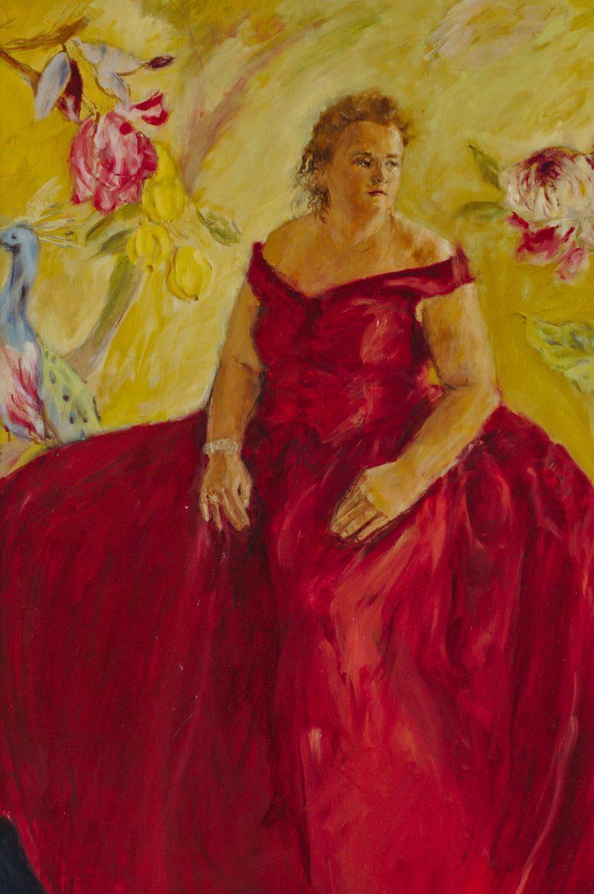Vrouw in rood 2012 olieverf op papier 100 x 70