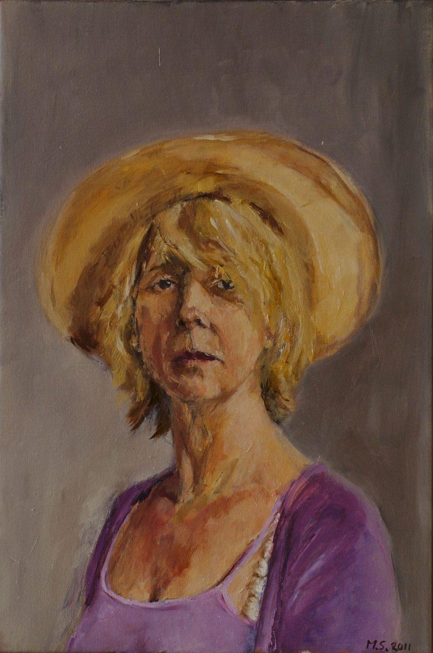 Zelfportret met ecru hoed 2011 olieverf op linnen 60 x 40