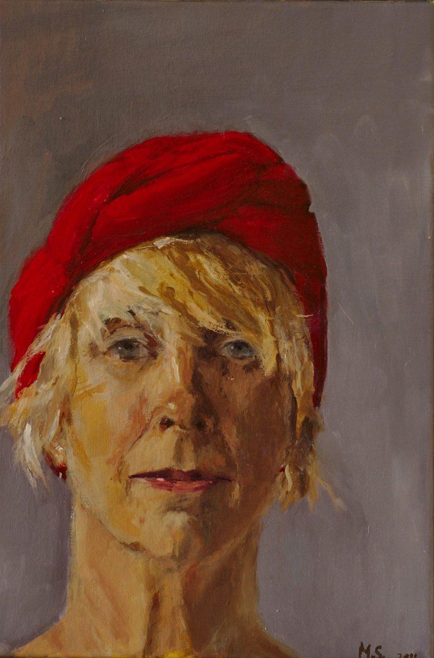Zelfportret met rode muts 2011 olieverf op linnen 60 x 40