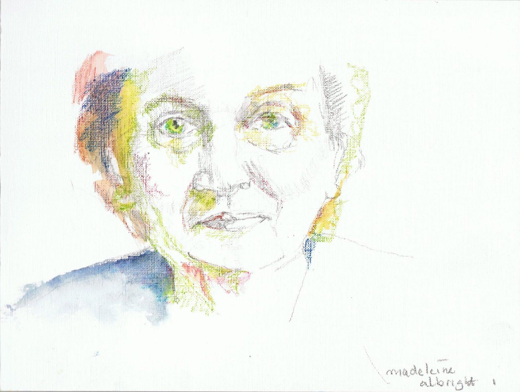 365 dagen een portret, dag 1 Madeleine Albright, politica VS  (2018) Aquarel op papier