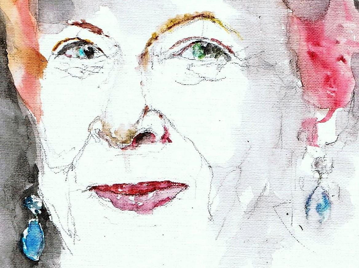 365 dagen een portret 14 Sonja Barend, talkshow presentatrice Aquarel 19c25