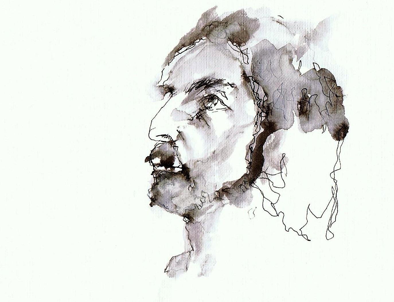 365 dagen een portret 188 MIke, model Inkt gewassen 19c25