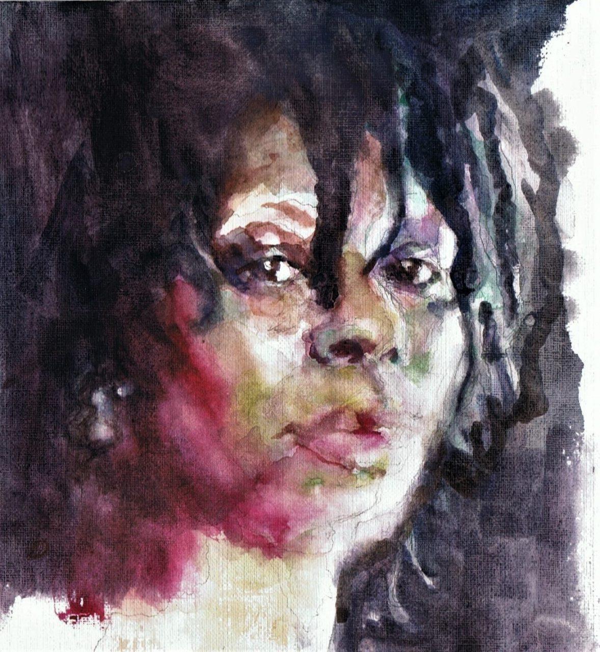 365 dagen een portret Whoopi Goldberg, actrice Aquarel 19c25