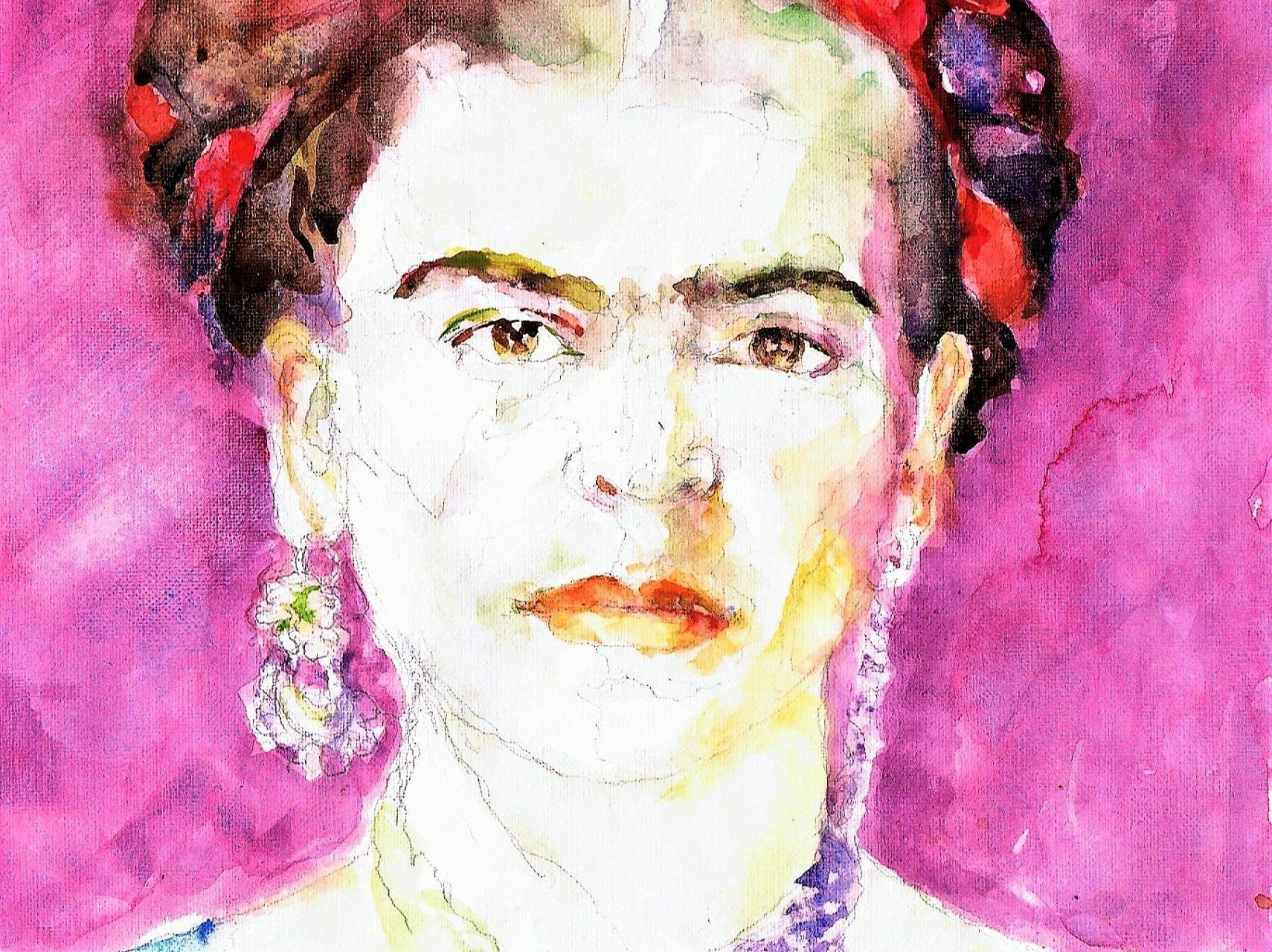 365 dagen een portret 185 Frida Kahlo (2) Aquarel 19c25