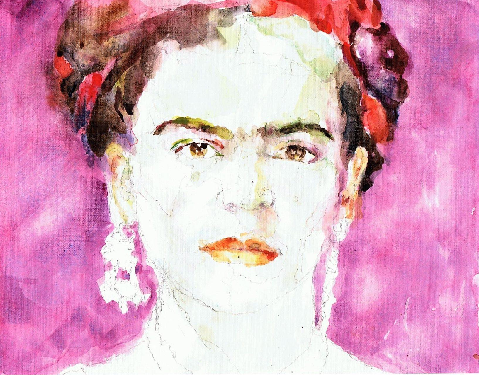 365 dagen een portret 184 Frida Kahlo (2) Aquarel 19c25
