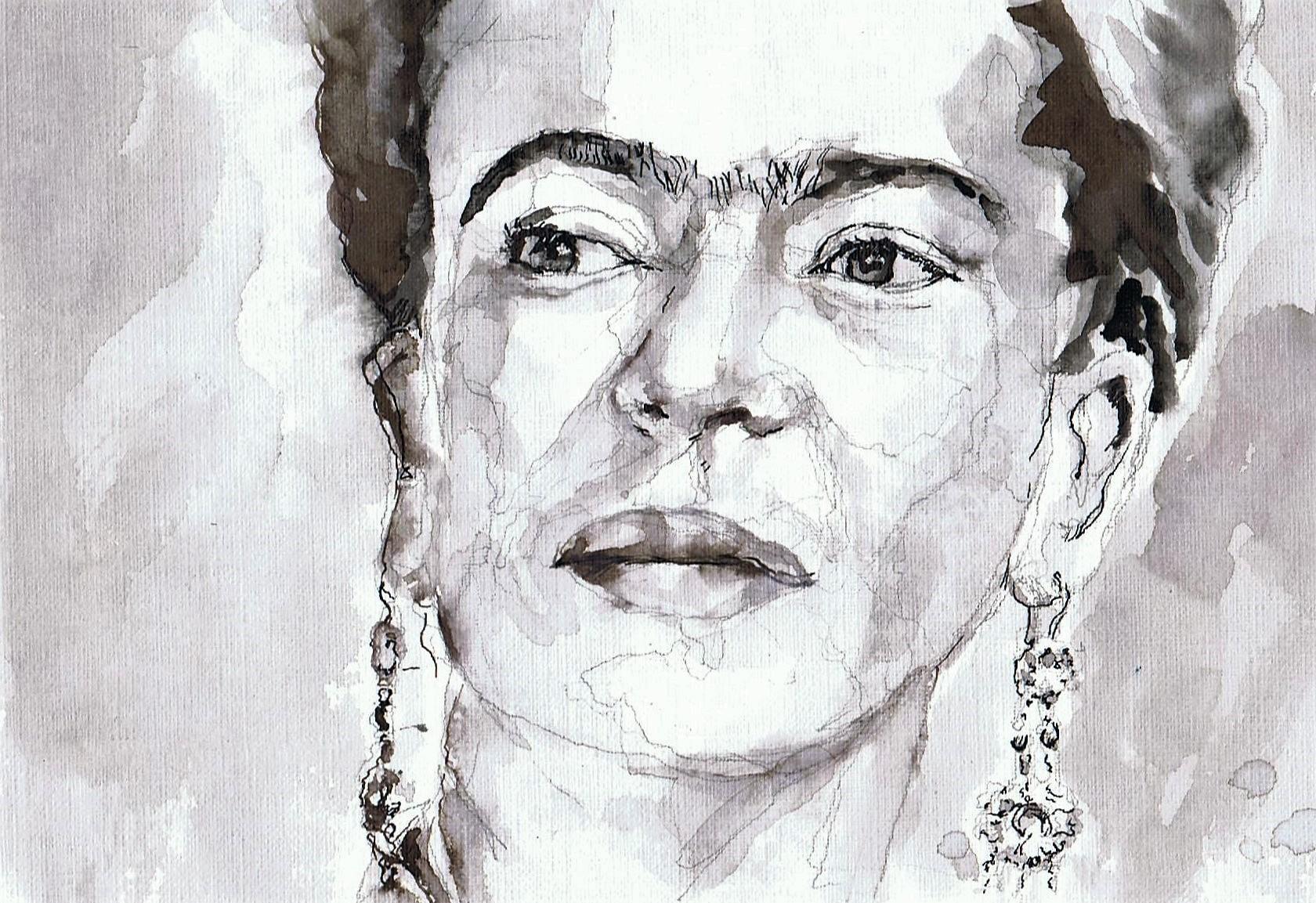 365 dagen een portret 180 Frida Kahlo, kunstenaar Gewassen inkt en Stabilo stift 19c25
