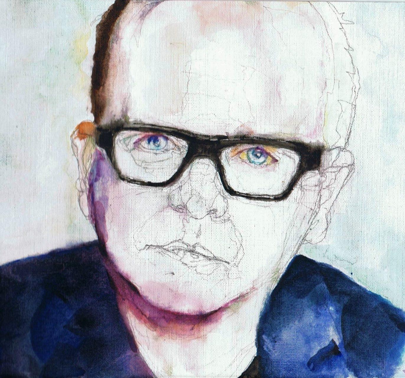 365 dagen een portret Marc-Marie Huijbregts, cabaretier Aquarel 19c25
