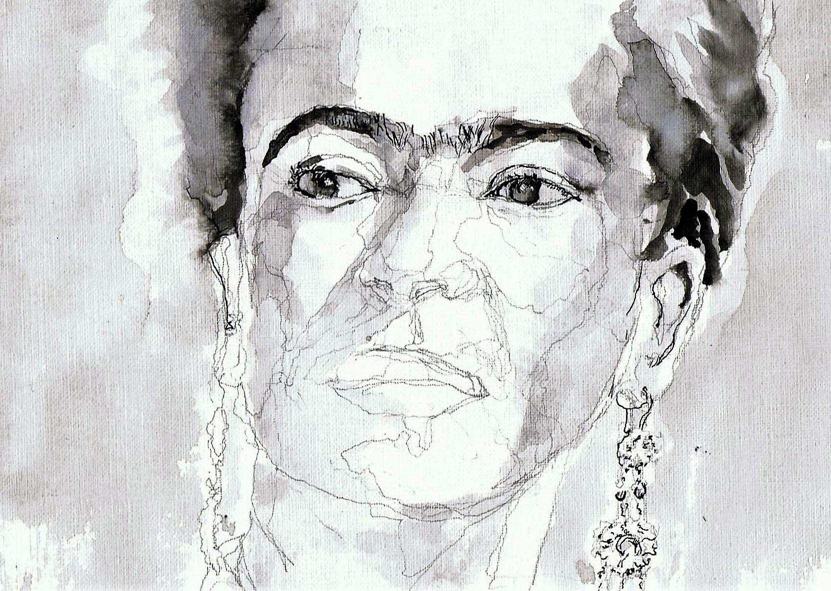 365 dagen een portret 178 Frida Kahlo, kunstenaar Gewassen inkt 19c25