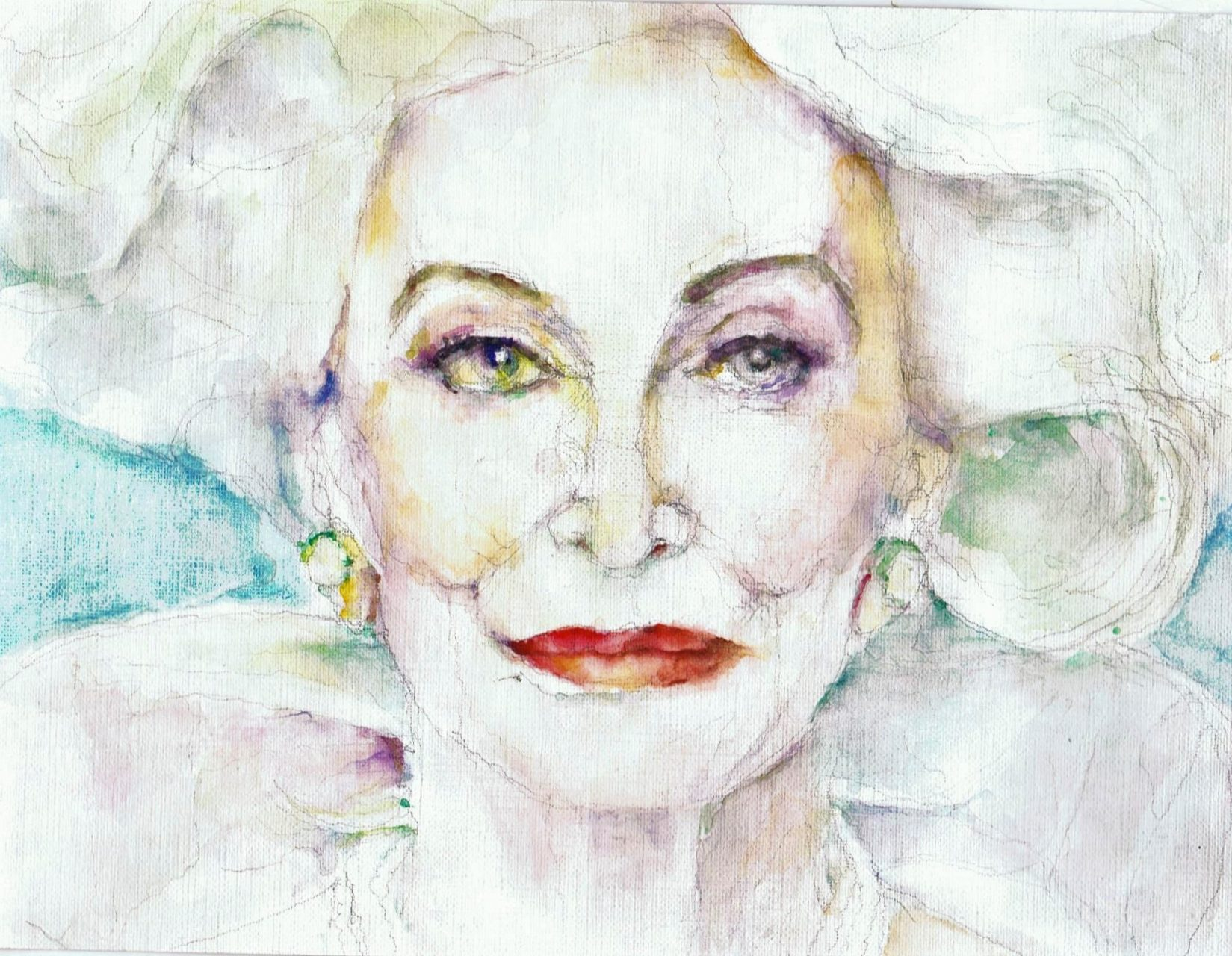 Carmen Dell'Orefice 2017 Aquarel 19x35
