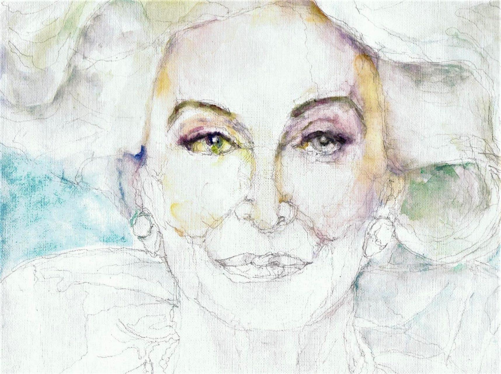 365 dagen een portret Carmen Del'Orefice, model 90 jaar oud Aquarel 19c25
