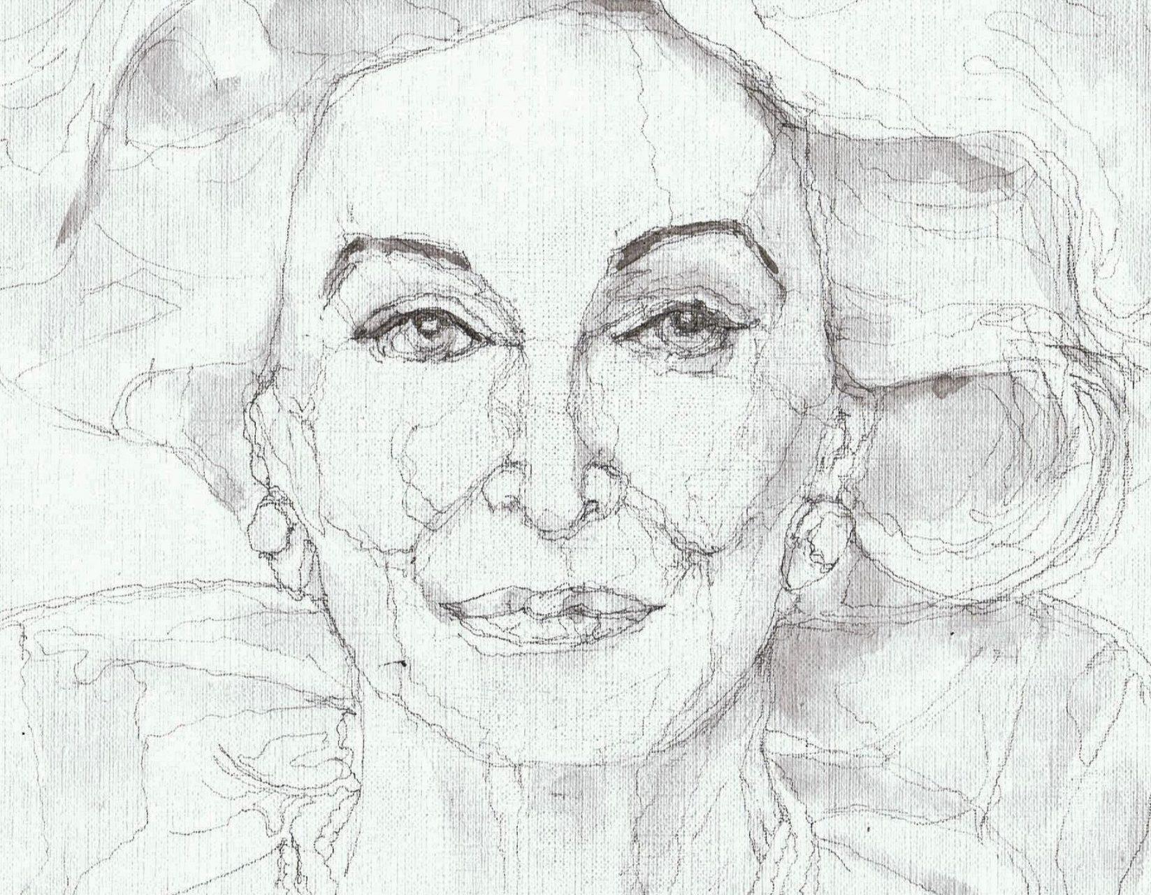 365 dagen een portret Carmen Del'Orefice, model 90 jaar oud Gewassen inkt 19c25