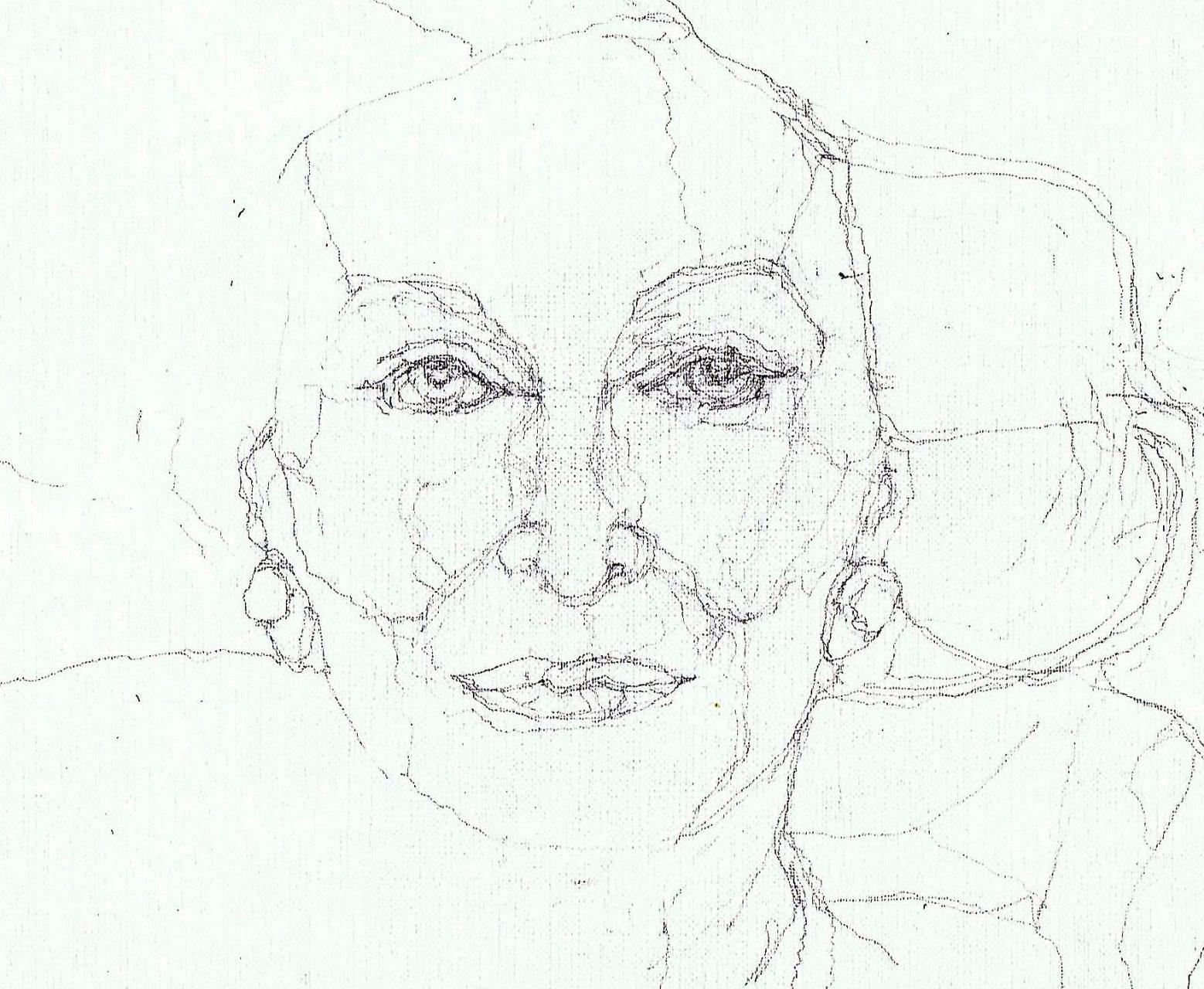 365 dagen een portret Carmen Del'Orefice, model 90 jaar oud Potlood 19c25