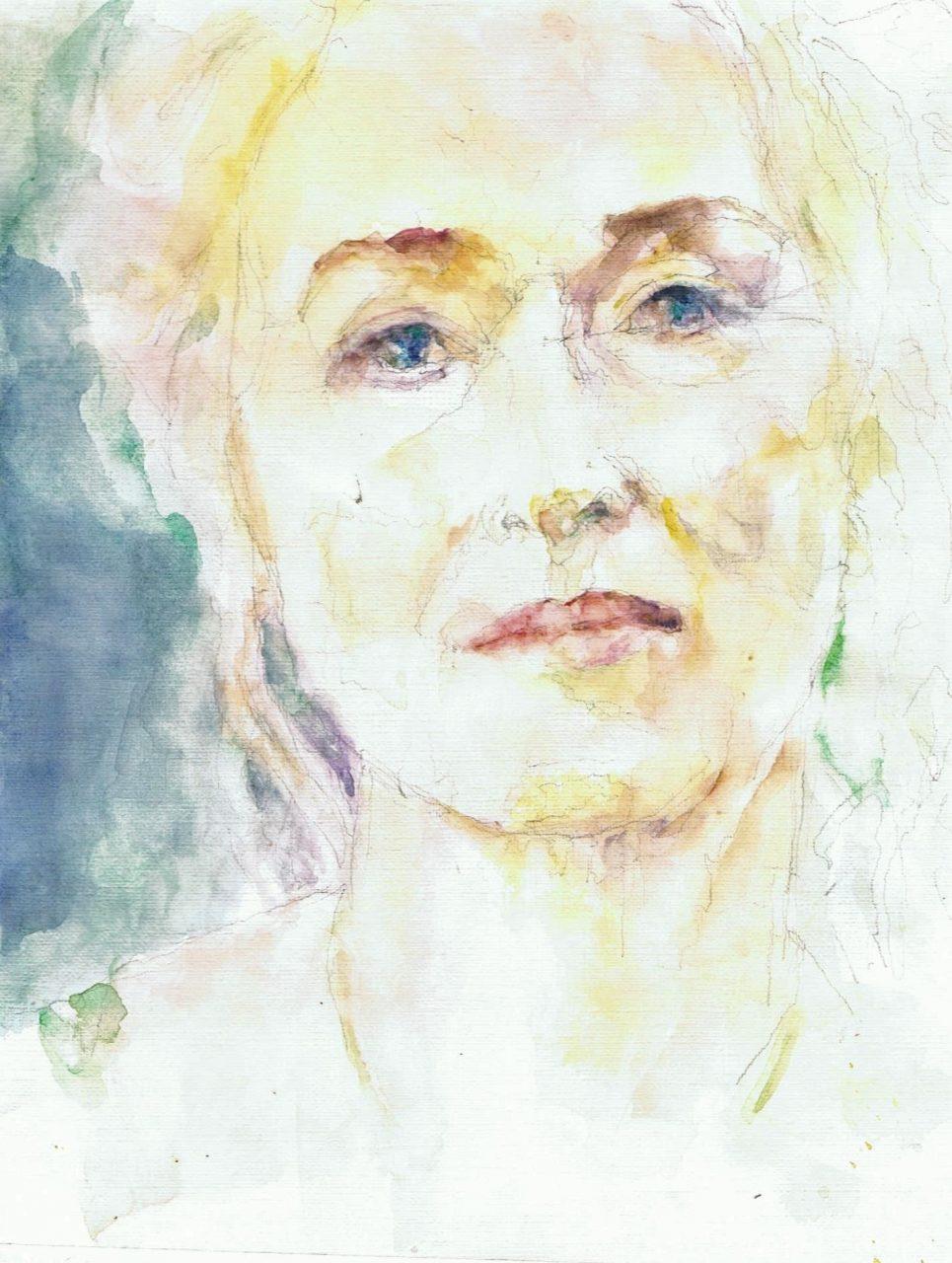 Meryl Streep 2018 Aquarel 19x35