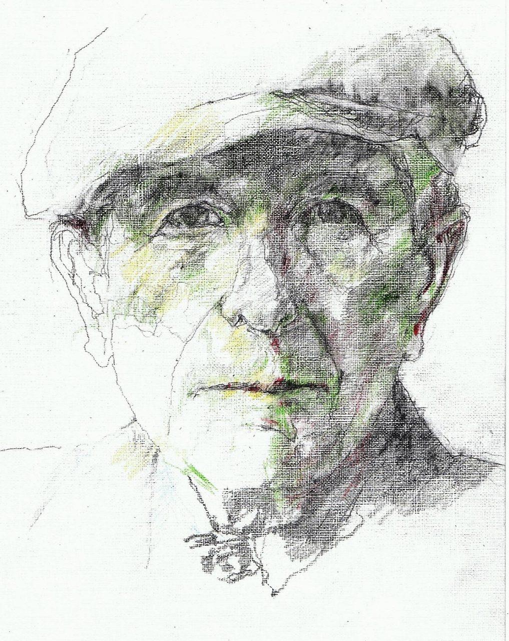 365 dagen een portret Leonard Cohen, singer-songwriter potlood en kleurpotlood 19c25