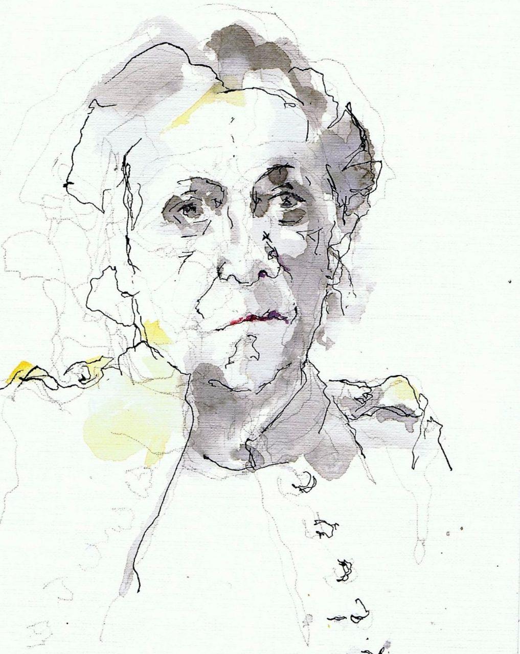 365 dagen een portret Thea, model Inkt en aquarel 19c25