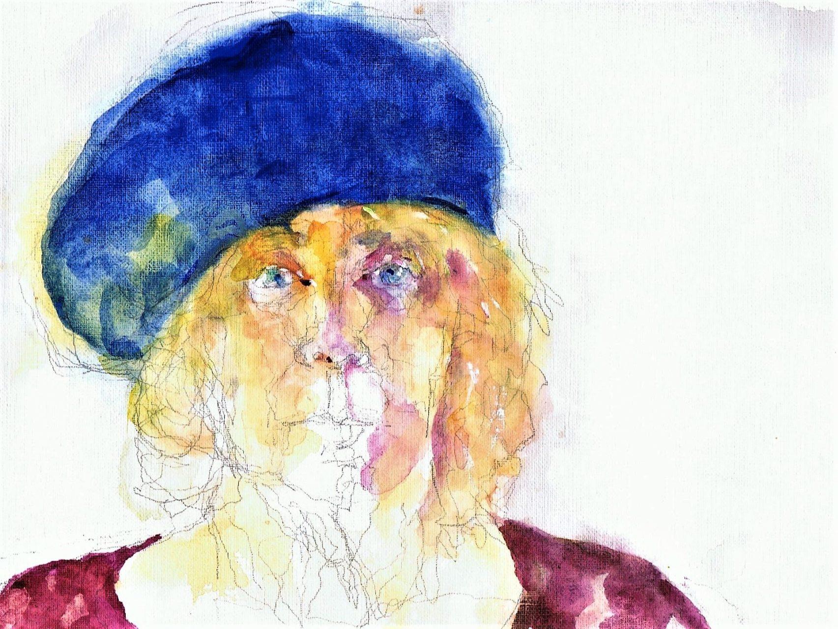 365 dagen een portret Zelf met blauwe baret Aquarel 19c25
