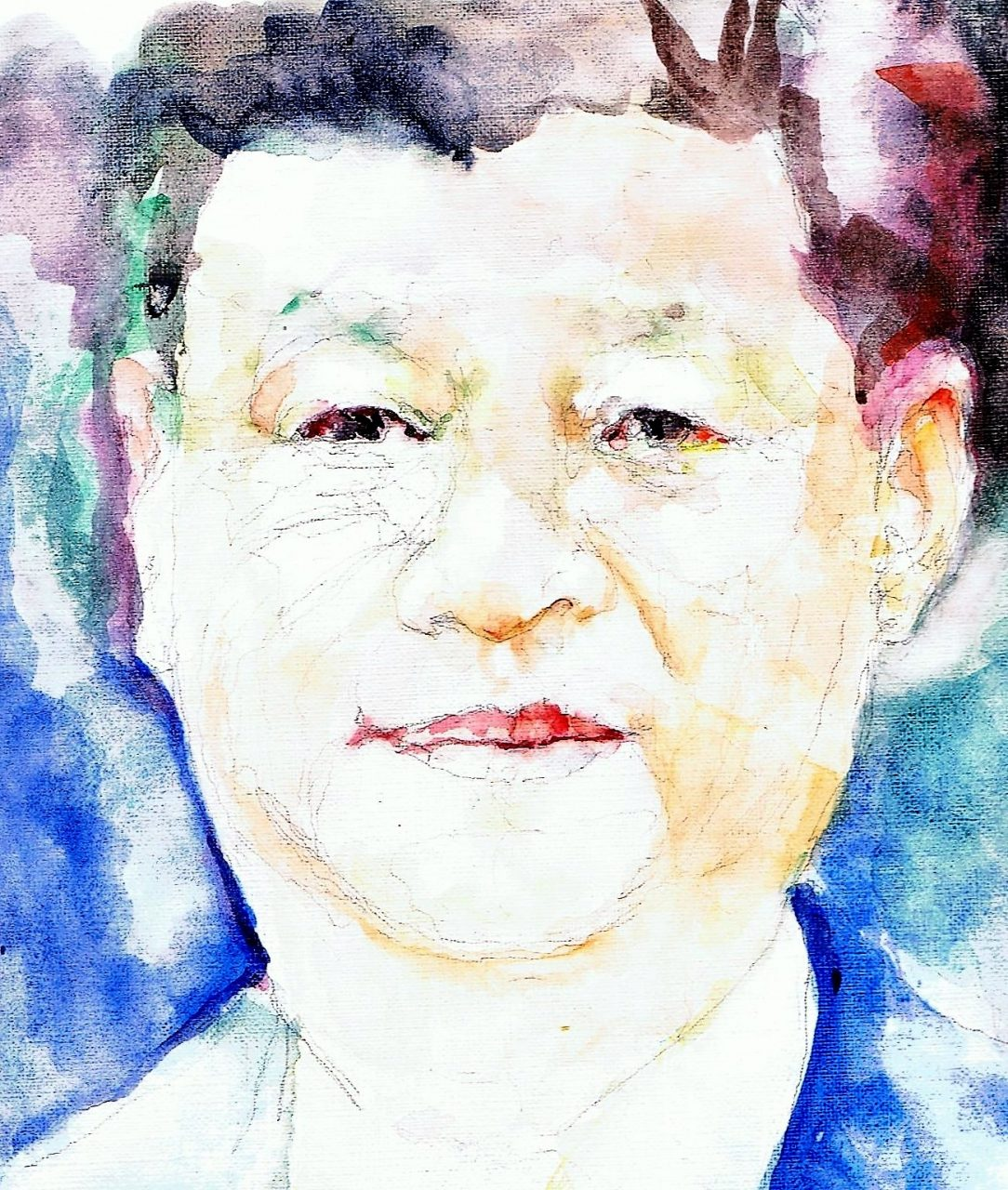 365 dagen een portret Xi Linping , president China Aquarel 19c25