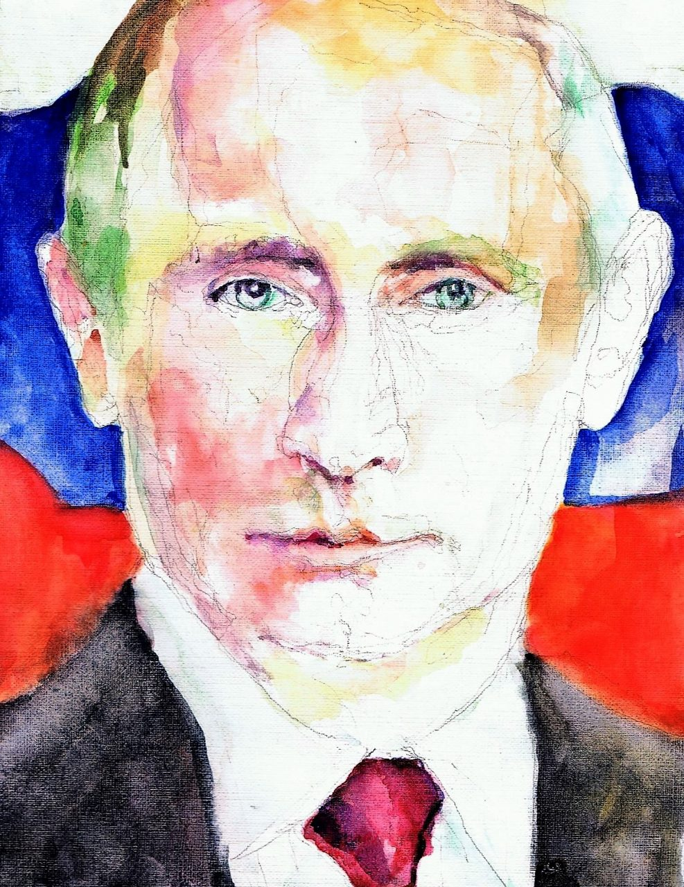 365 dagen een portret Vladimir Poetin, president USSR Aquarel 19c25