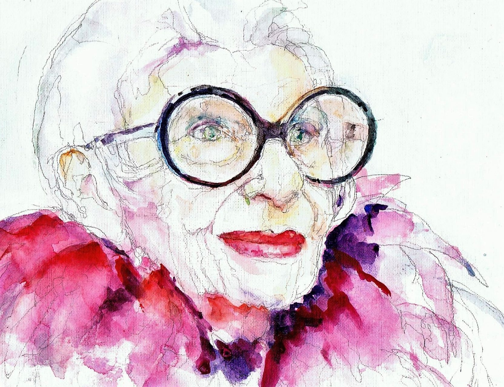 365 dagen een portret Iris Apfel met veren Aquarel 19c25