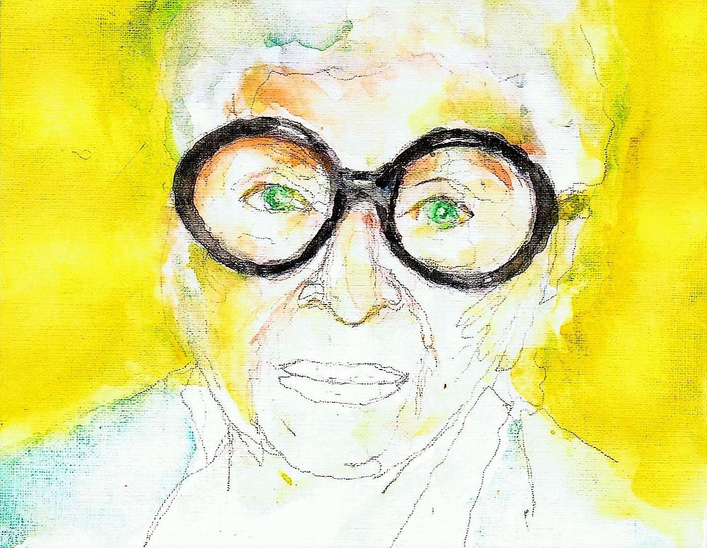 365 dagen een portret Iris Apfel, stijl-icoon Aquarel 19c25
