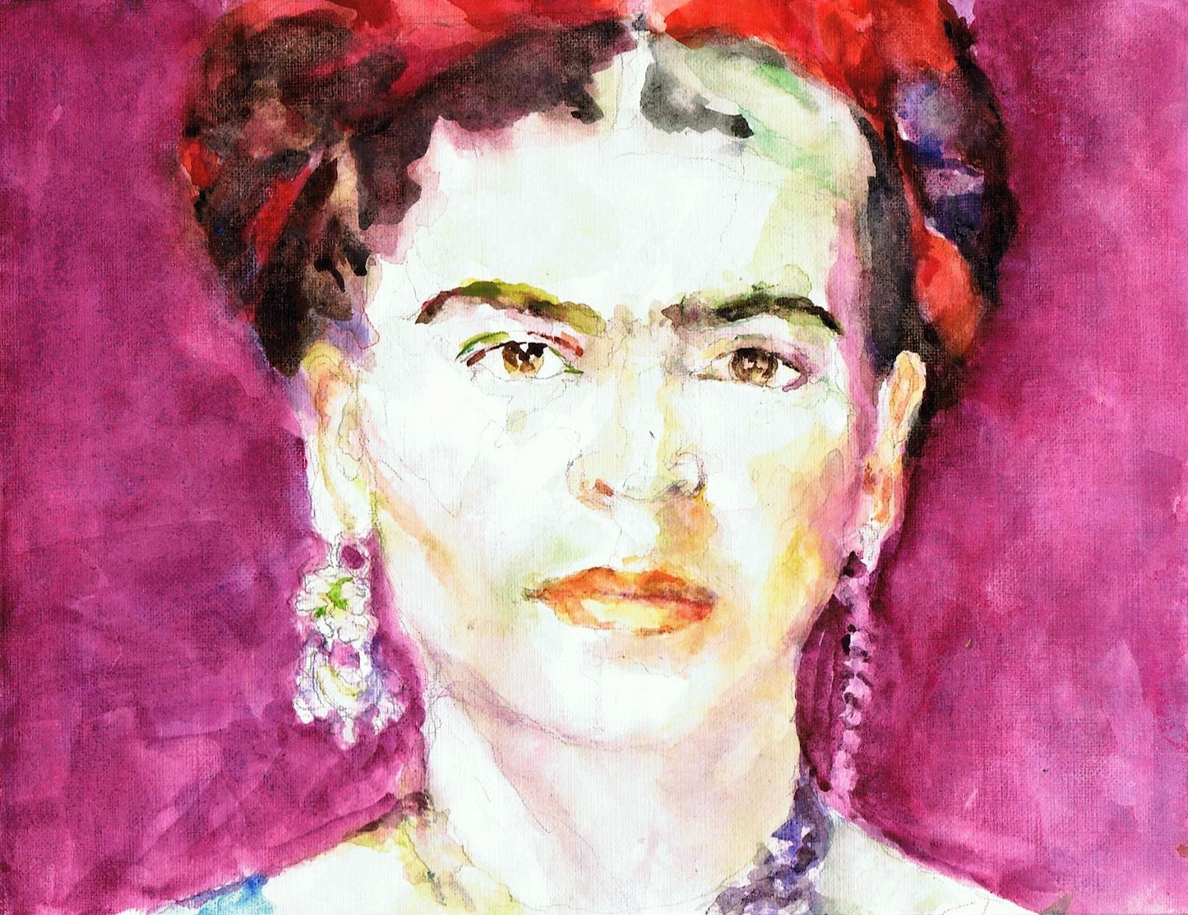 Frida Kahlo 2017 Aquarel 19x35