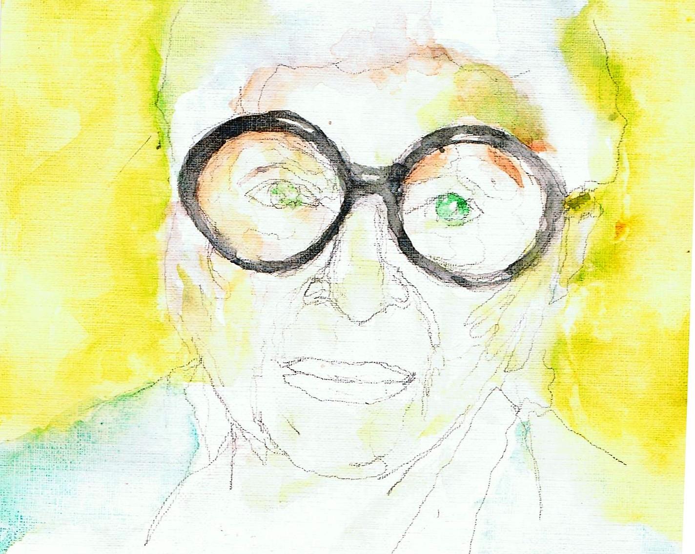 365 dagen een portret Iris Apfel, stijl-icoon Aquaarel 19c25