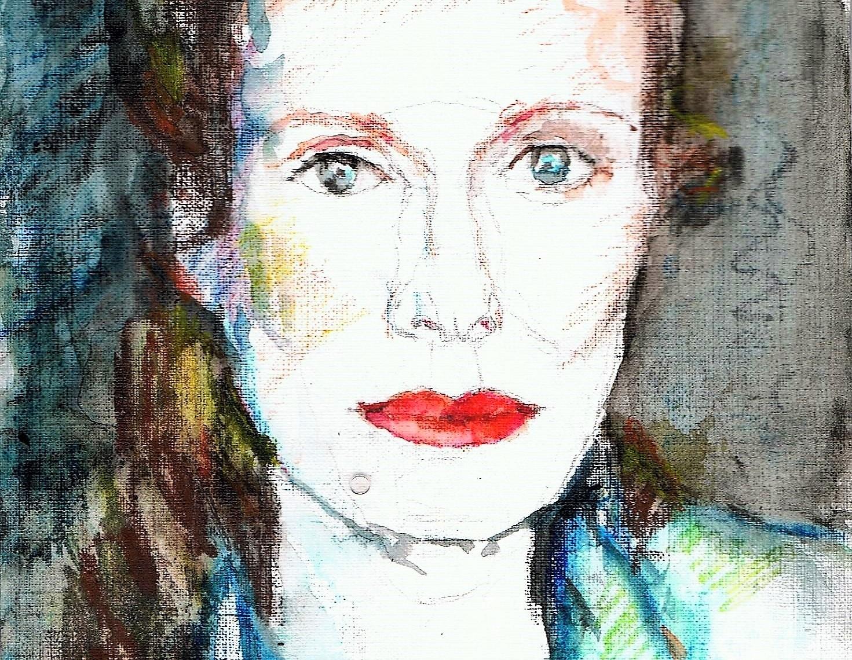 365 dagen een portret, dag 2 Jolanda van den Berg, actrice  (2018) Aquarel op papier