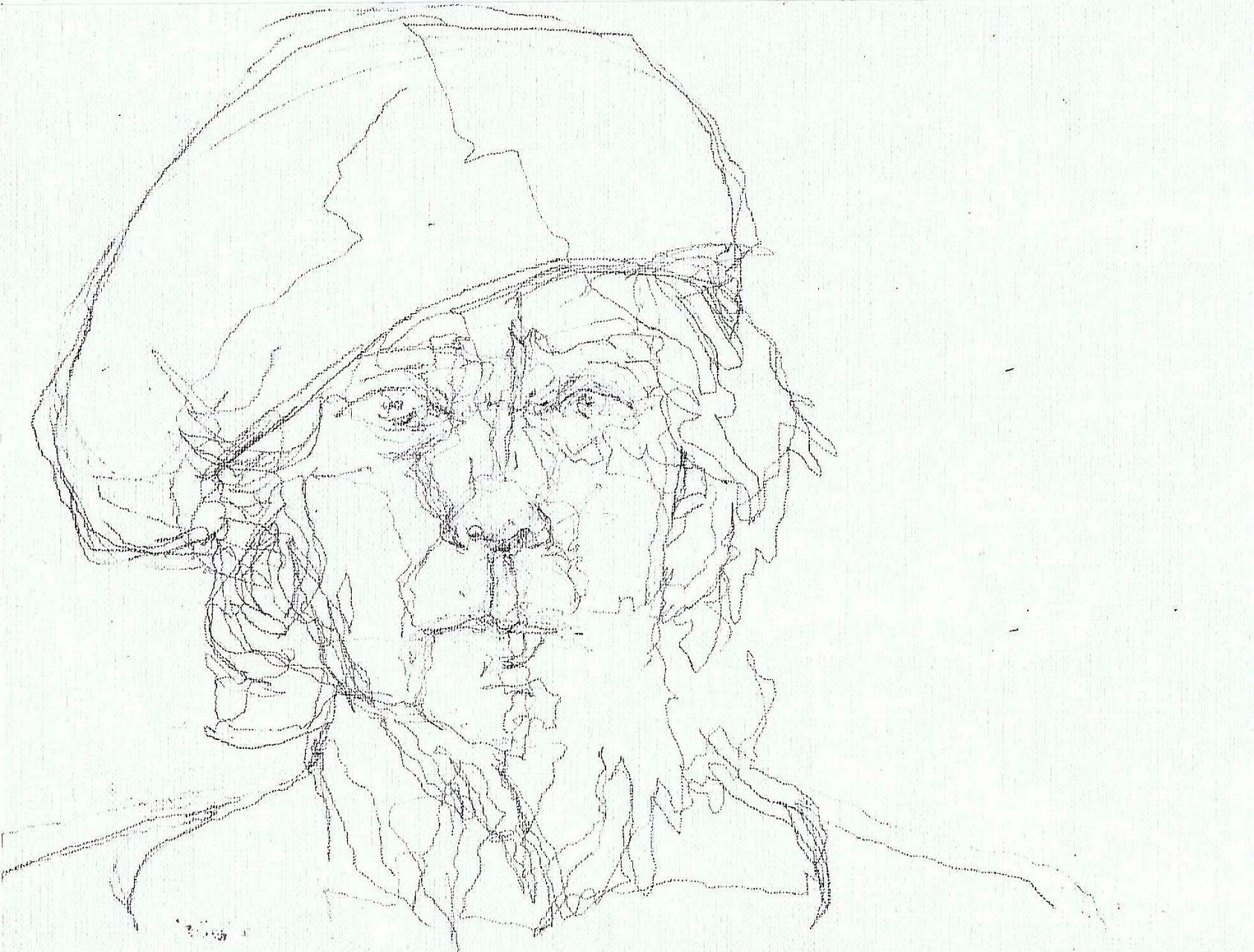 365 dagen een portret Zelf met blauwe baret Potlood 19c25