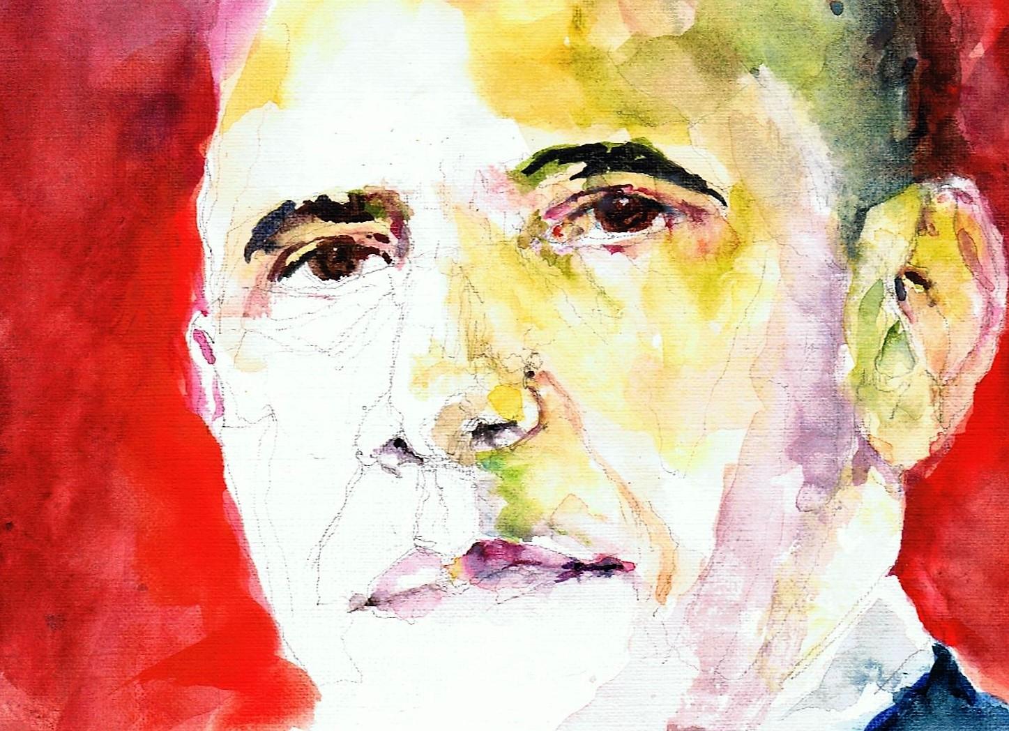 365 dagen een portret 166 Barack Obama, president V.S. Aquarel 19c25