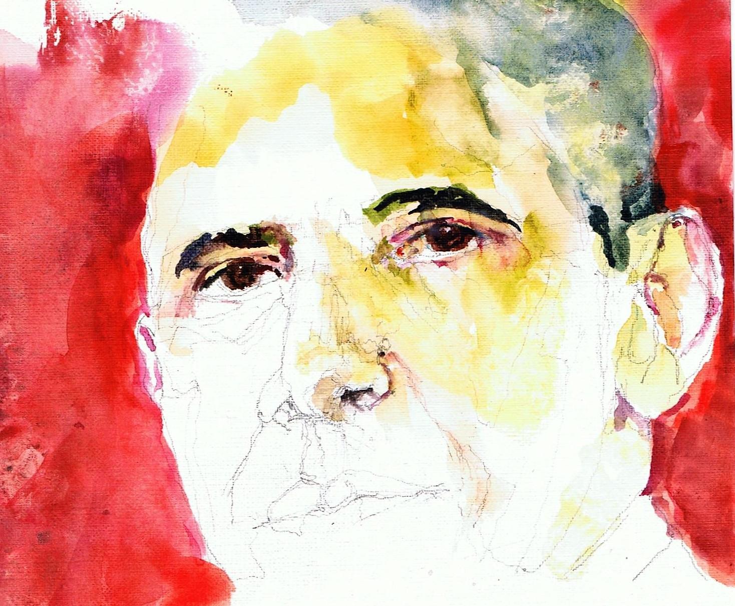 365 dagen een portret 165 Barack Obama, president V.S. Aquarel 19c25