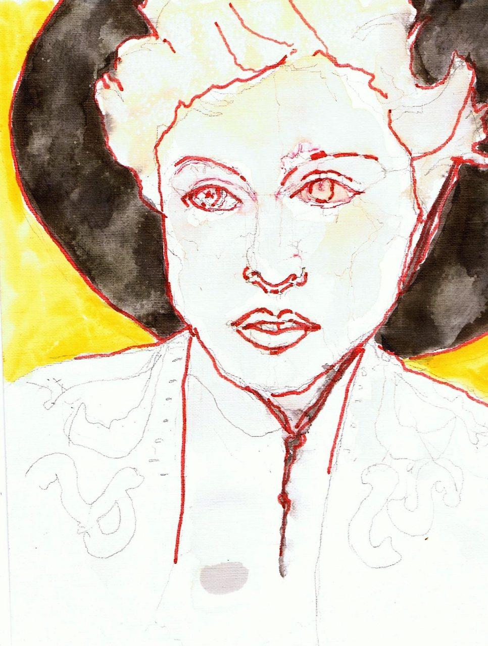 365 dagen een portret 161 Madonna, zangeres Viltstift en aquarel 19c25