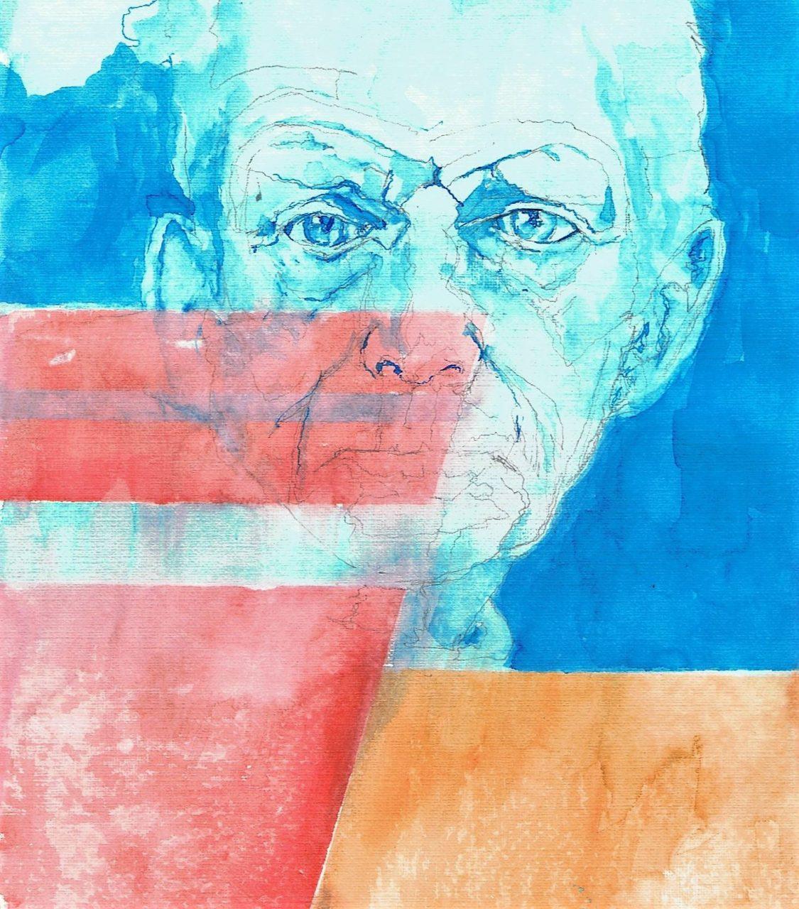 365 dagen een portret 159 Samuel Beckett, schrijver Aquarel 19c25