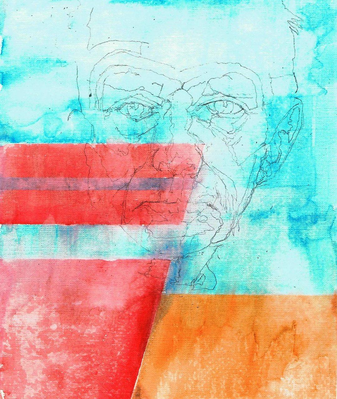 365 dagen een portret 158 Samuel Beckett, schrijver Aquarel 19c25