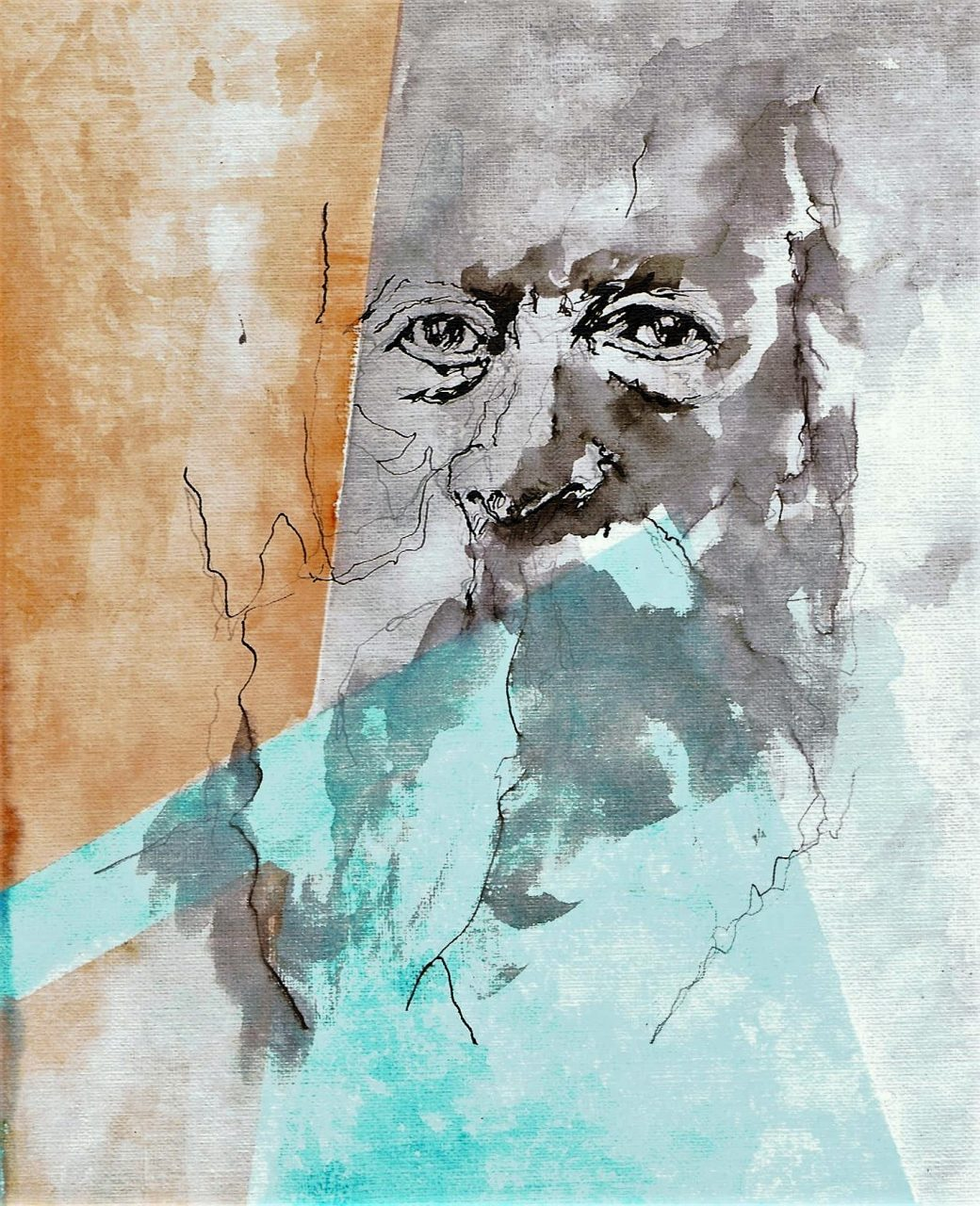 365 dagen een portret 157 Martin Buber. filosoof Aquarel en inkt 19c25