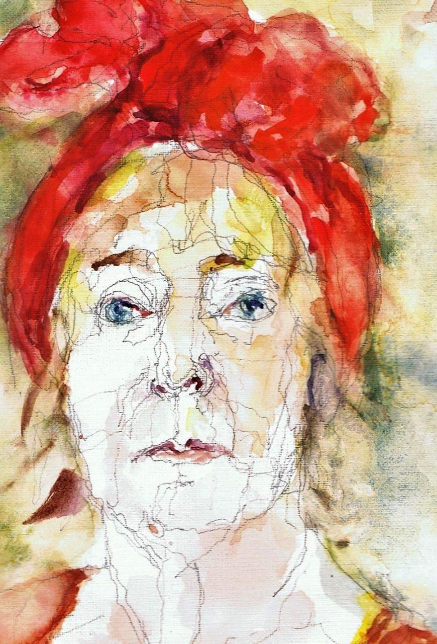 365 dagen een portret 156 Zelfportret in rood Aquarel 19c25