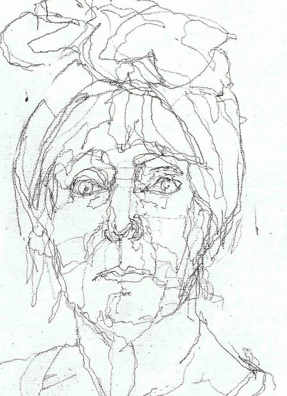 365 dagen een portret 155 Zelfportret in rood Potlood 19c25