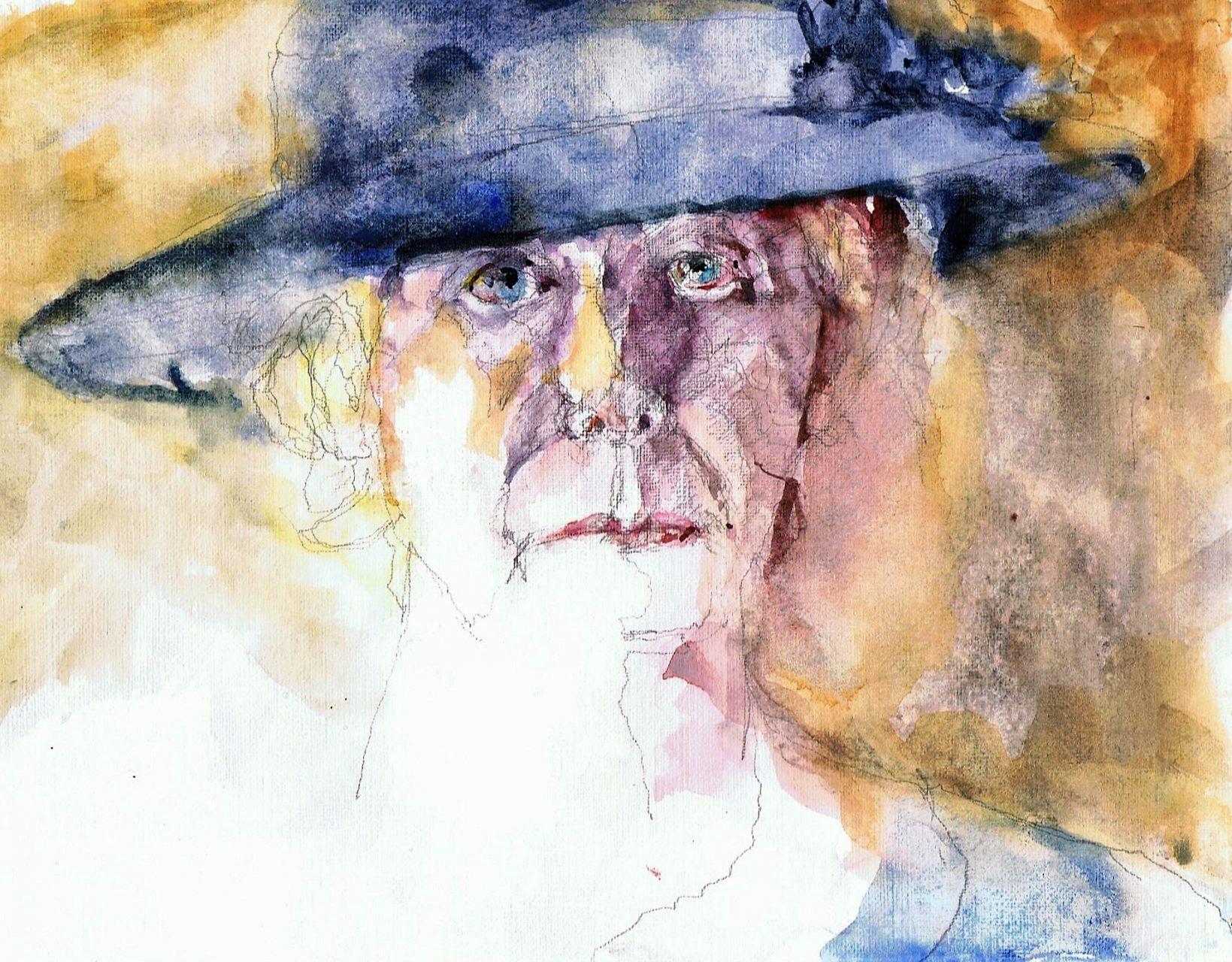 365 dagen een portret 154 Zelfportret met blauwe hoed Aquarel 19c25