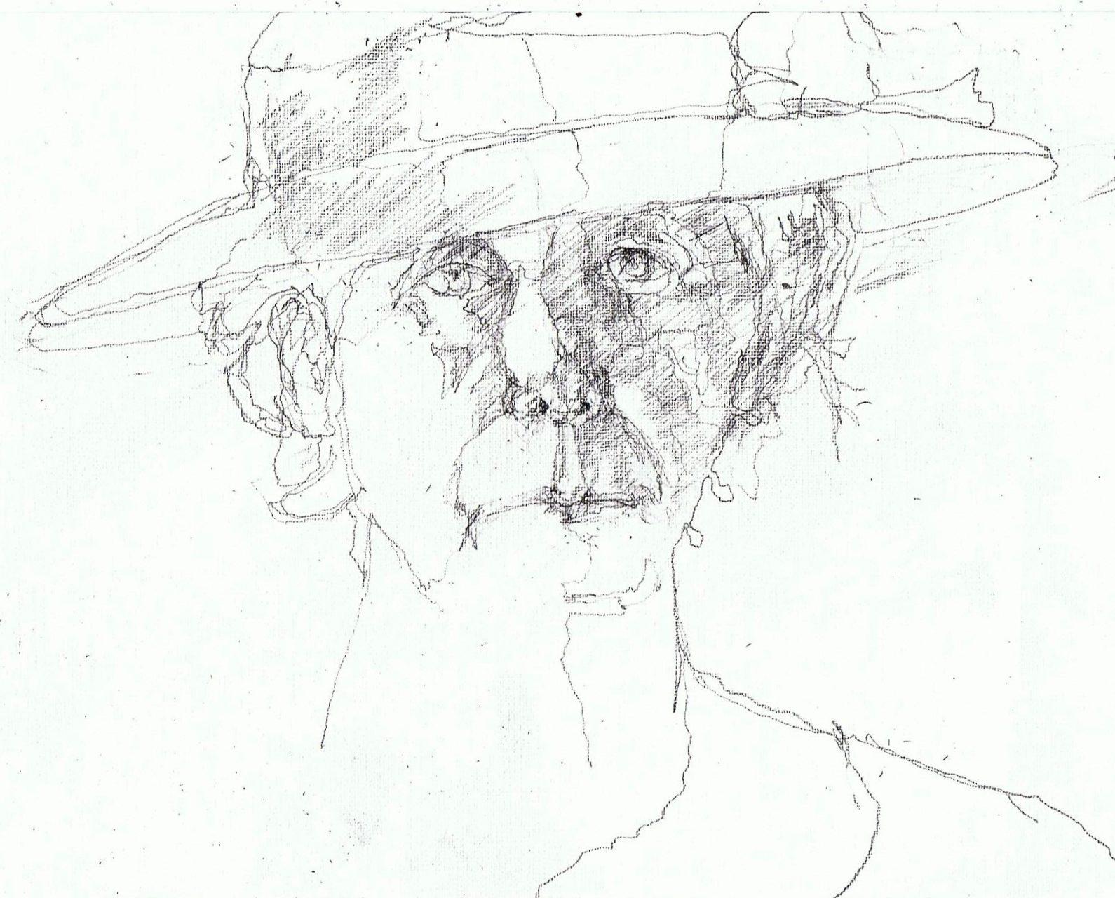 365 dagen een portret 152 Zelfportret met blauwe hoed Potlood 19c25