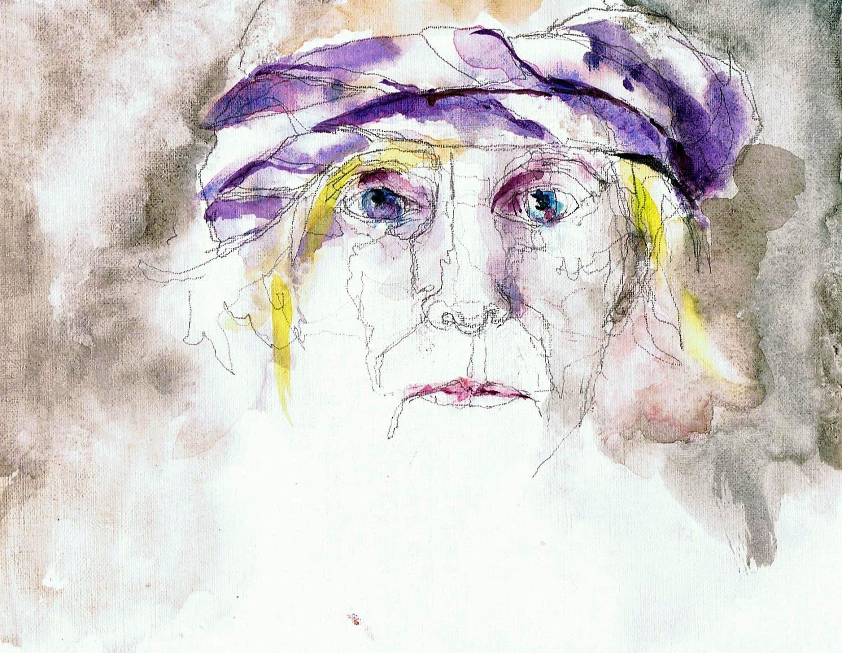 365 dagen een portret 151 Zelfportret met paarse sjaal Aquarel 19c25