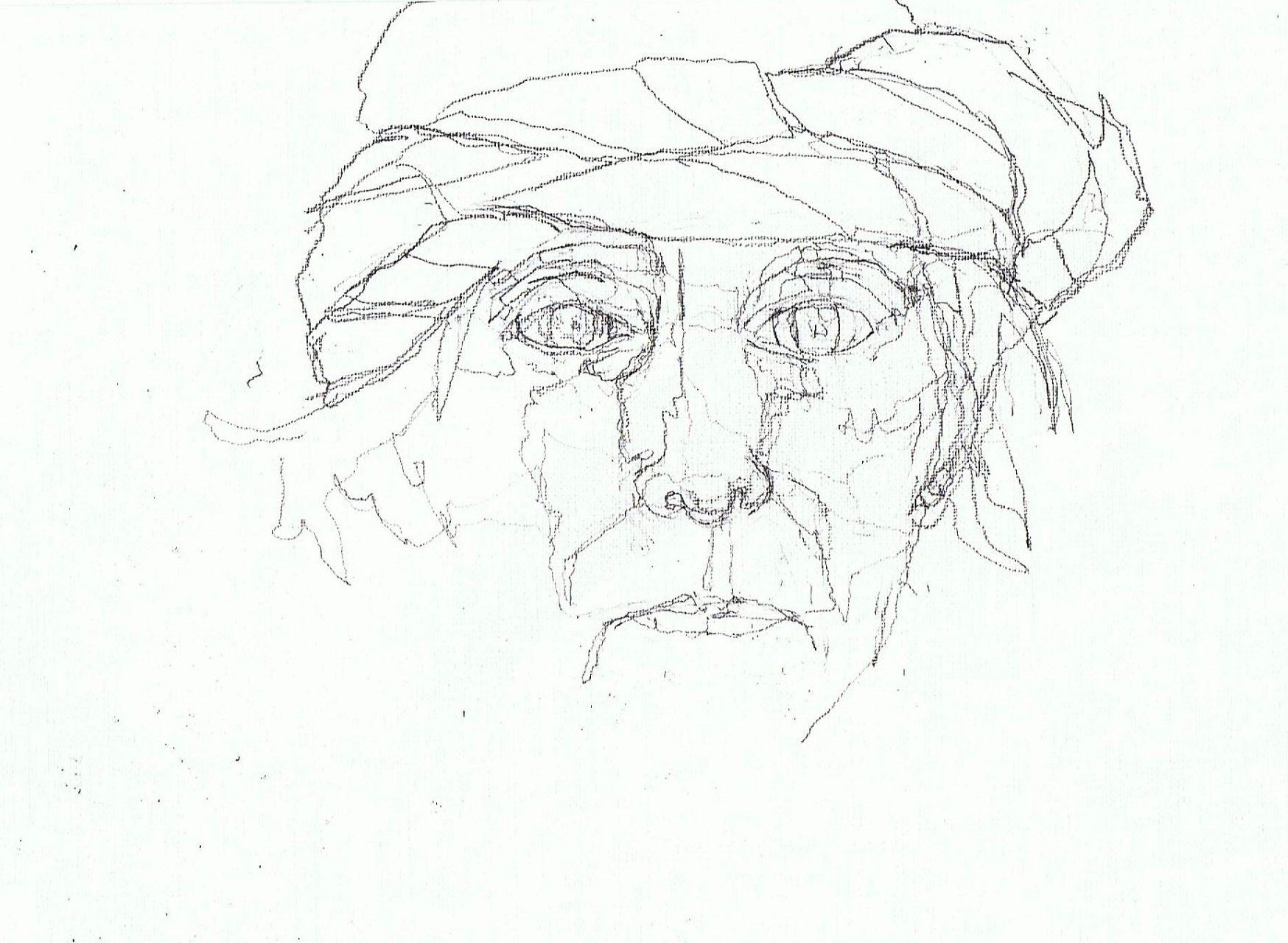 365 dagen een portret 150 Zelfportret met paarse sjaal Potlood 19c25