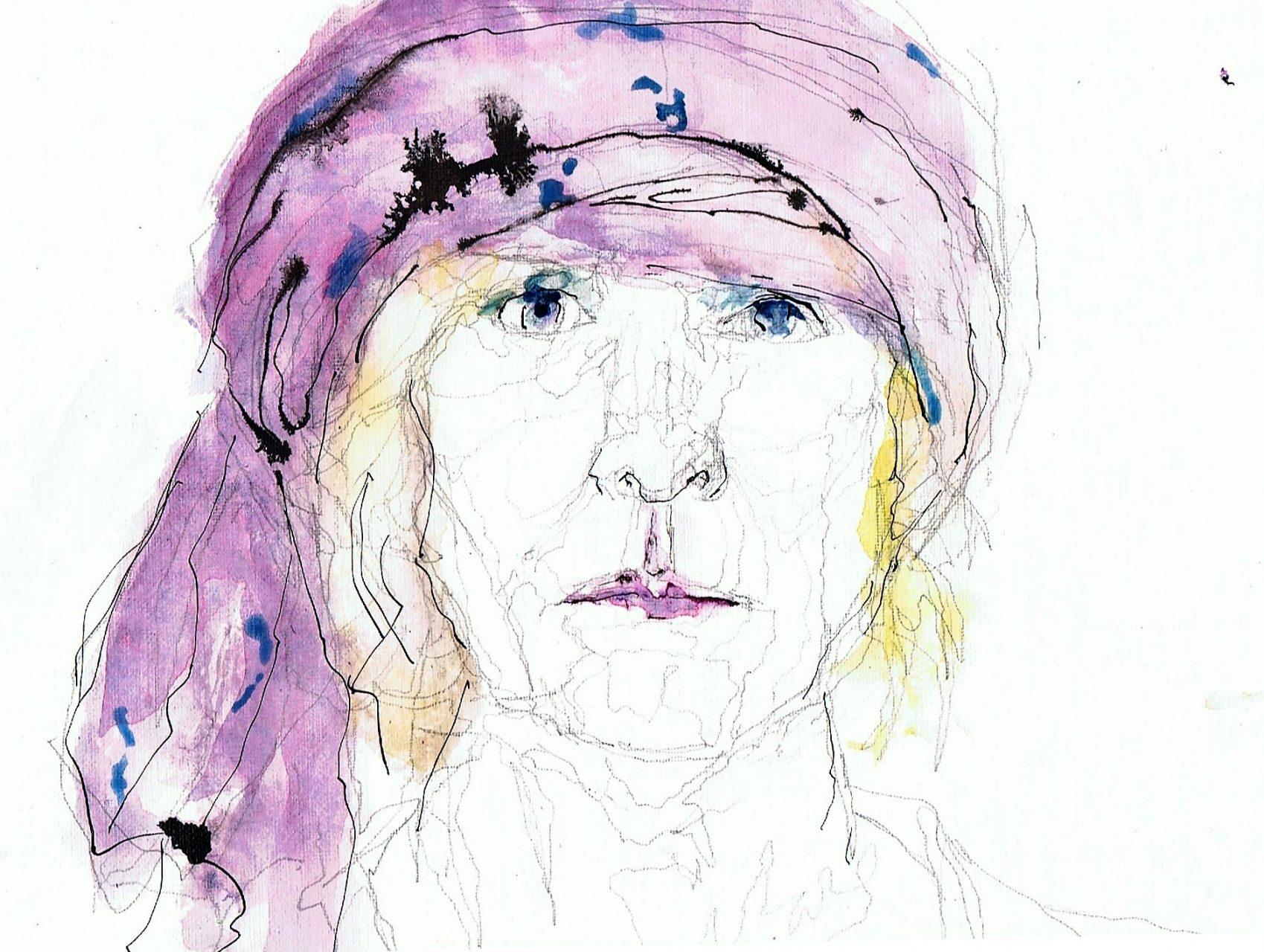 365 dagen een portret 147 Zelfportret met roze sjaal Aquarel 19c25