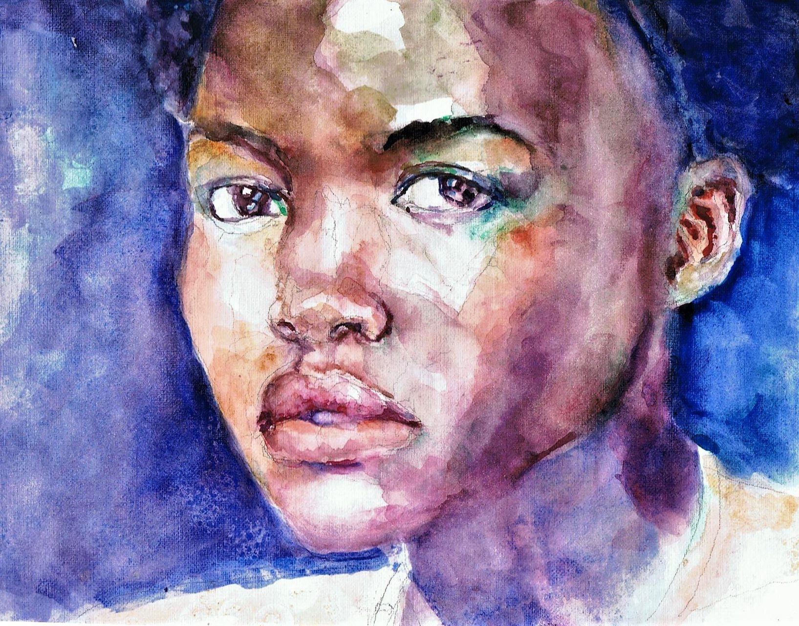 365 dagen een portret 146 Lupita Nuong'o, actrice Aquarel 19c25