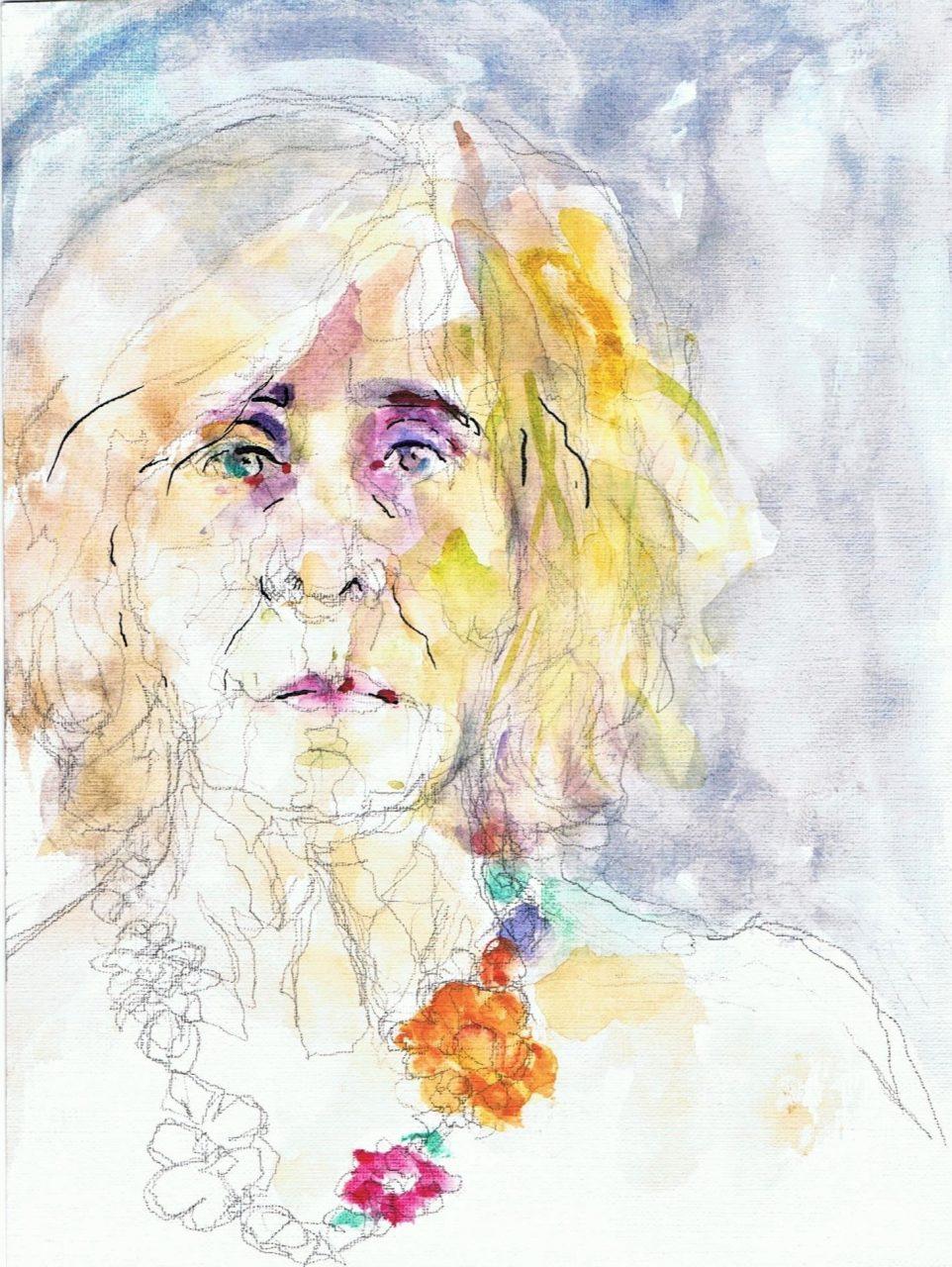 365 dagen een portret Zelf met bloemenketting Aquarel 19c25