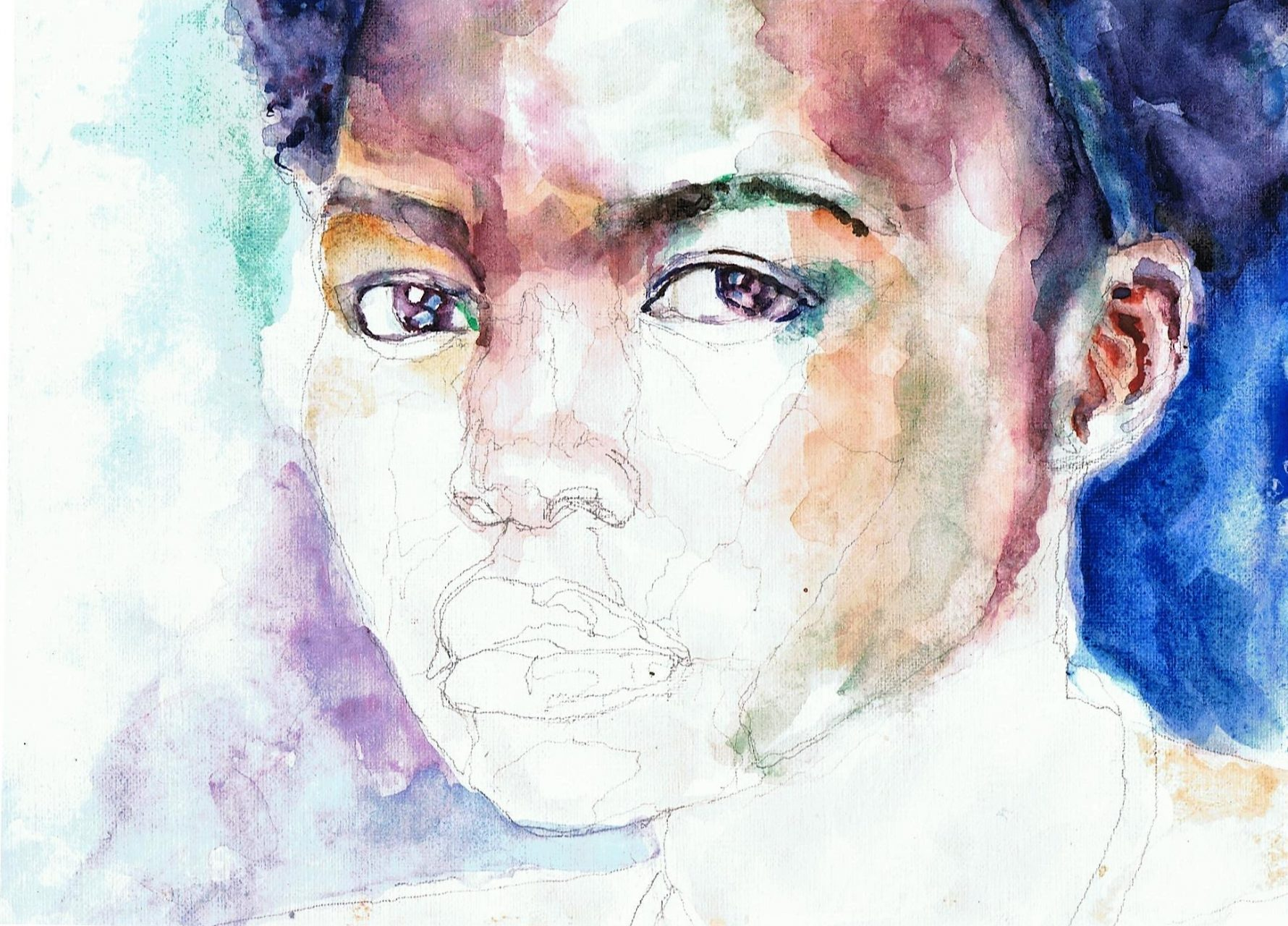 365 dagen een portret 144 Lupita Nuong'o, actrice Aquarel 19c25