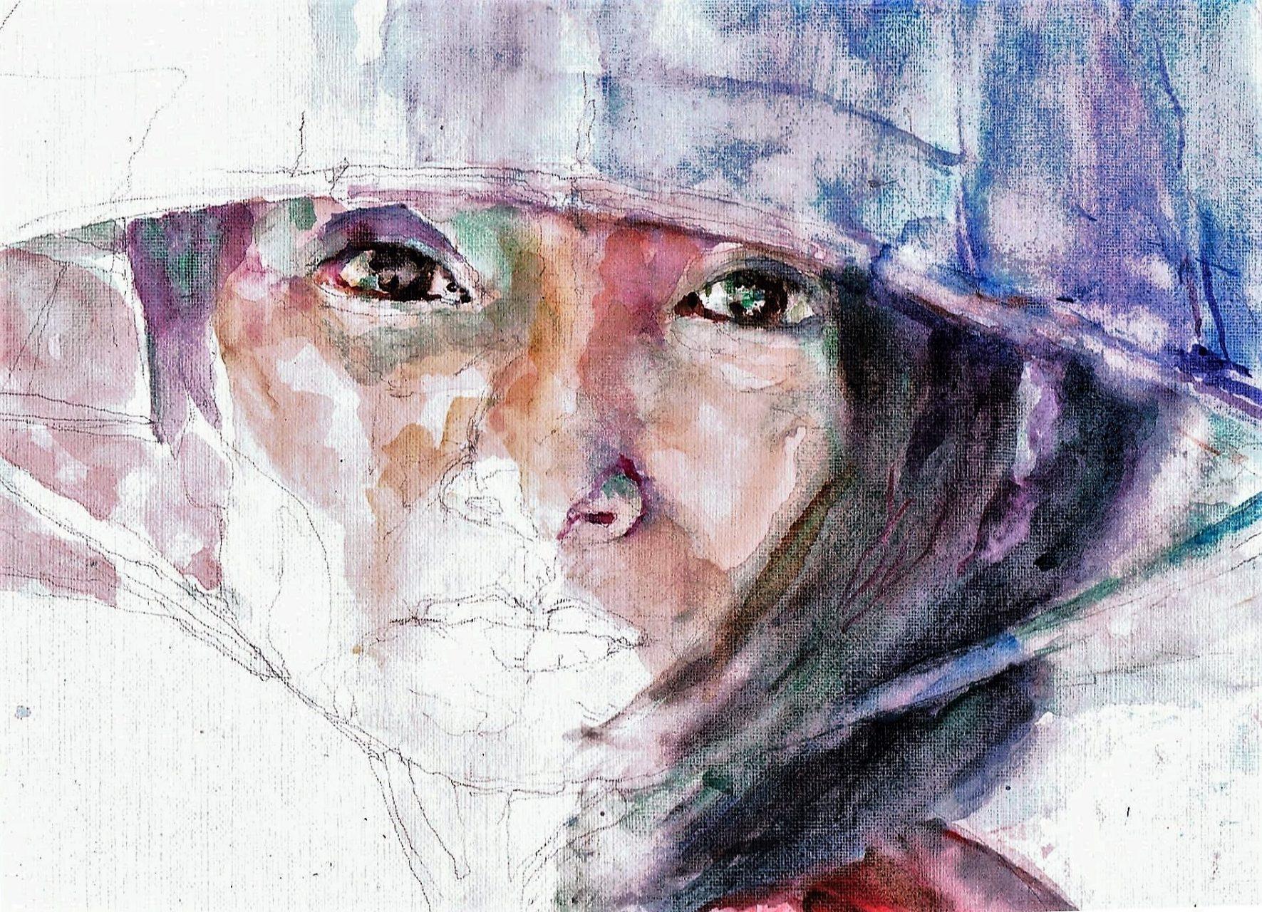 365 dagen een portret 141 Jonge Chinese met Nonla Aquarel 19c25