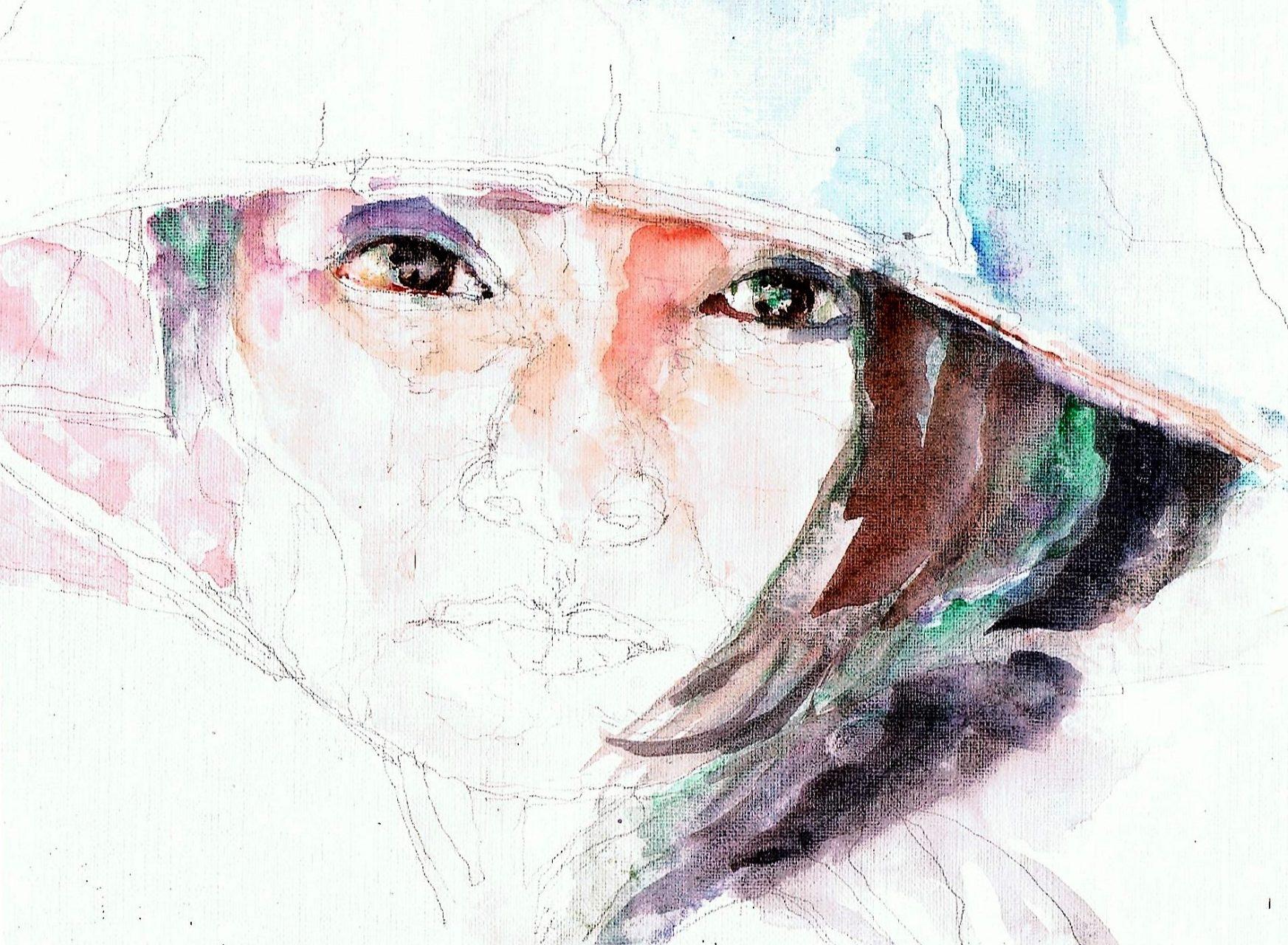 365 dagen een portret 140 Jonge Chinese met Nonla Aquarel 19c25