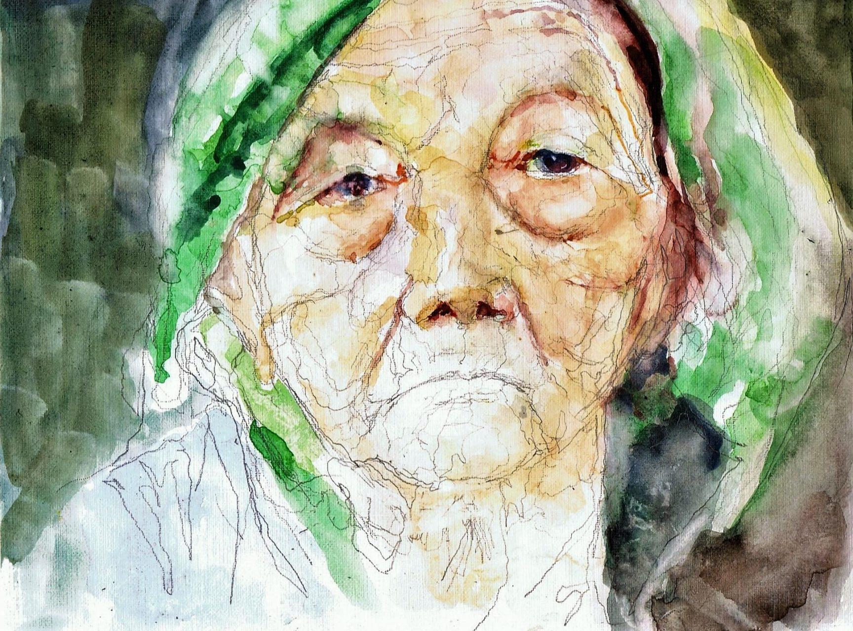 365 dagen een portret 138 Oude vrouw met hoofddoek Aquarel 19c25